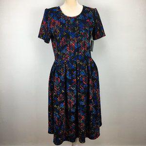 LuLaRoe L Amelia Dress Short Sleeve Zip Back Midi